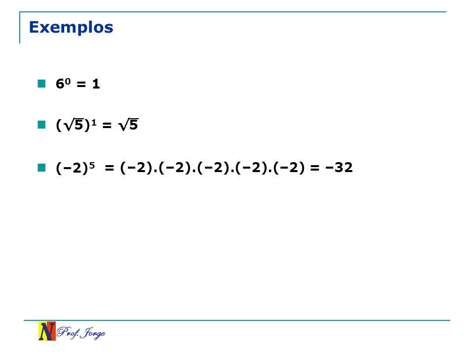 Exemplos 60 = 1 (√5)1 = √5 (–2)5 = (–2).(–2).(–2).(–2).(–2) = –32