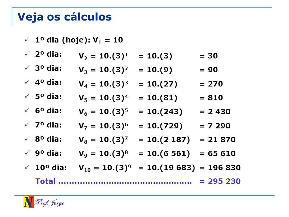 Veja os cálculos Prof. Jorge 1º dia (hoje): V1 = 10 2º dia: