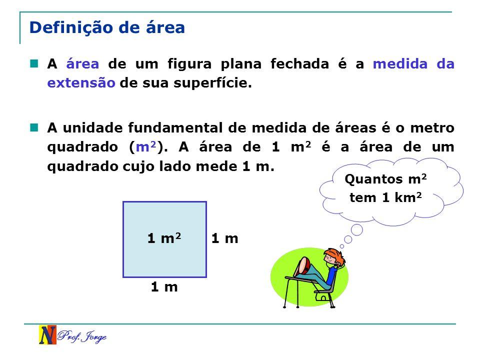 Definição de área A área de um figura plana fechada é a medida da extensão de sua superfície.