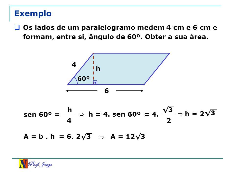 Exemplo Os lados de um paralelogramo medem 4 cm e 6 cm e formam, entre si, ângulo de 60º. Obter a sua área.