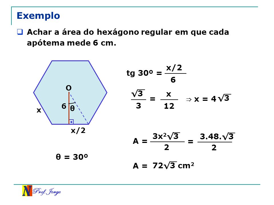 ExemploAchar a área do hexágono regular em que cada apótema mede 6 cm. x/2. tg 30º = 6. O. √3. x. =
