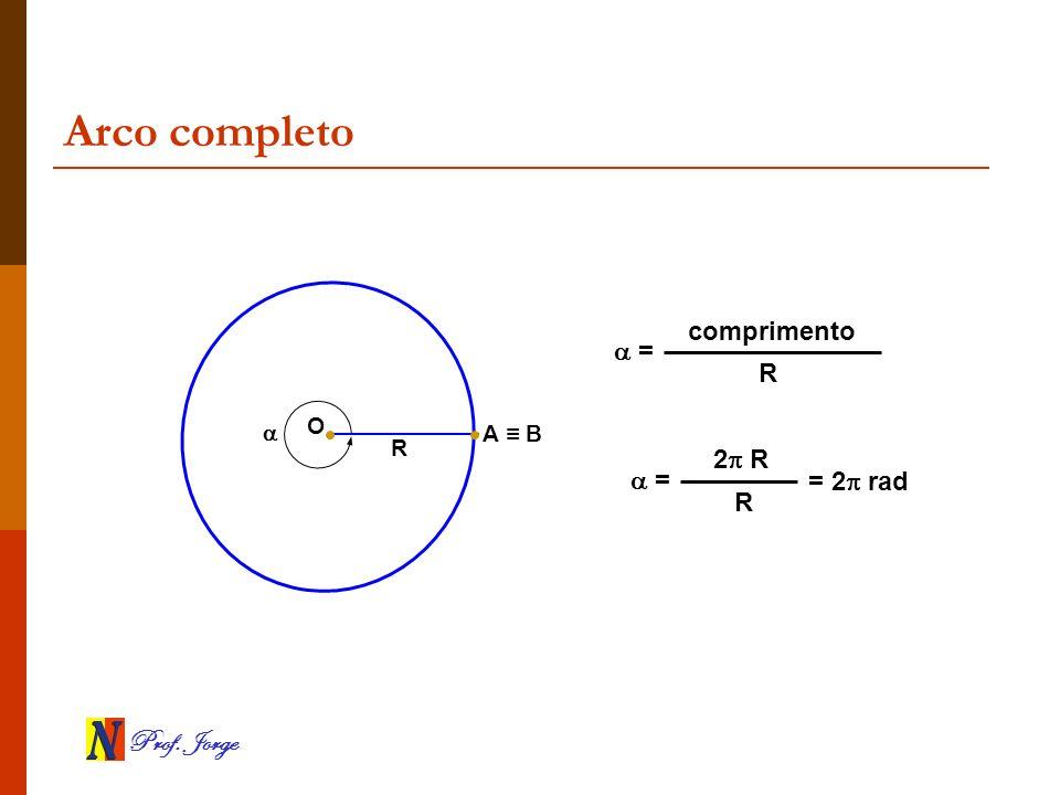 Arco completo comprimento  = R  O A ≡ B R 2 R  = = 2 rad R