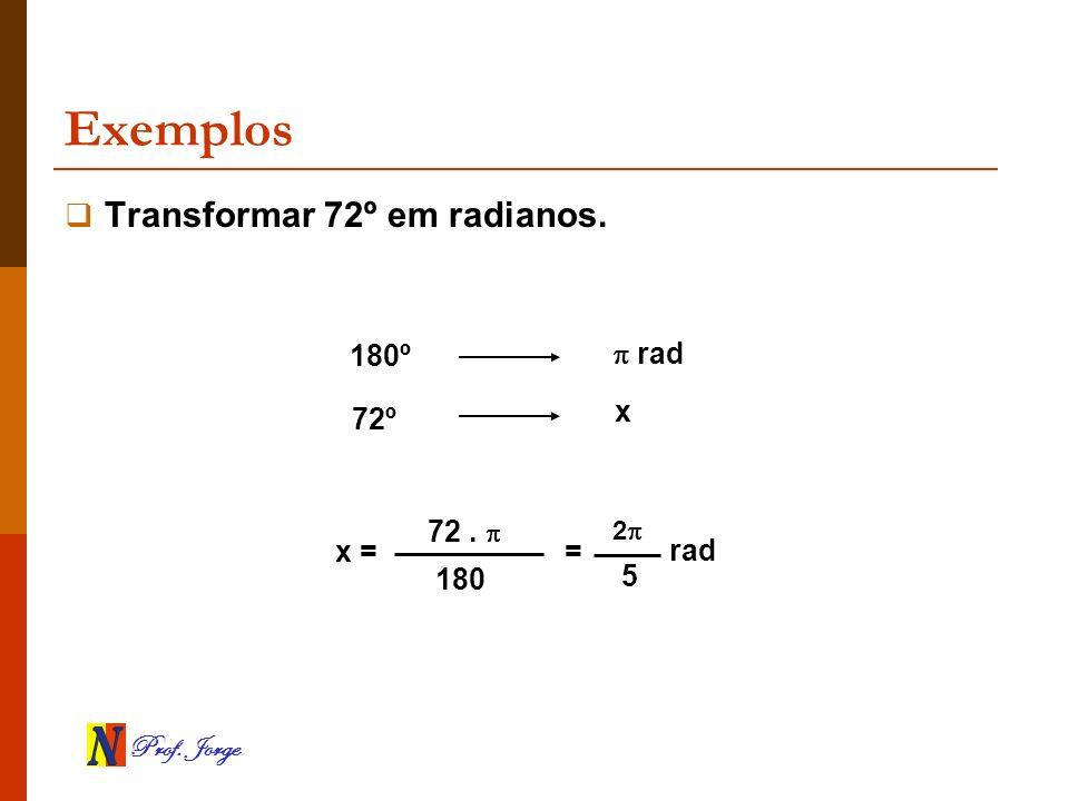 Exemplos Transformar 72º em radianos. 180º  rad x 72º 72 .  5 rad