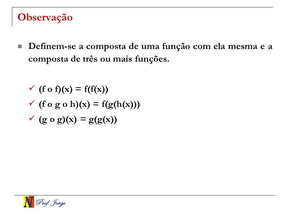 Observação Definem-se a composta de uma função com ela mesma e a composta de três ou mais funções. (f o f)(x) = f(f(x))
