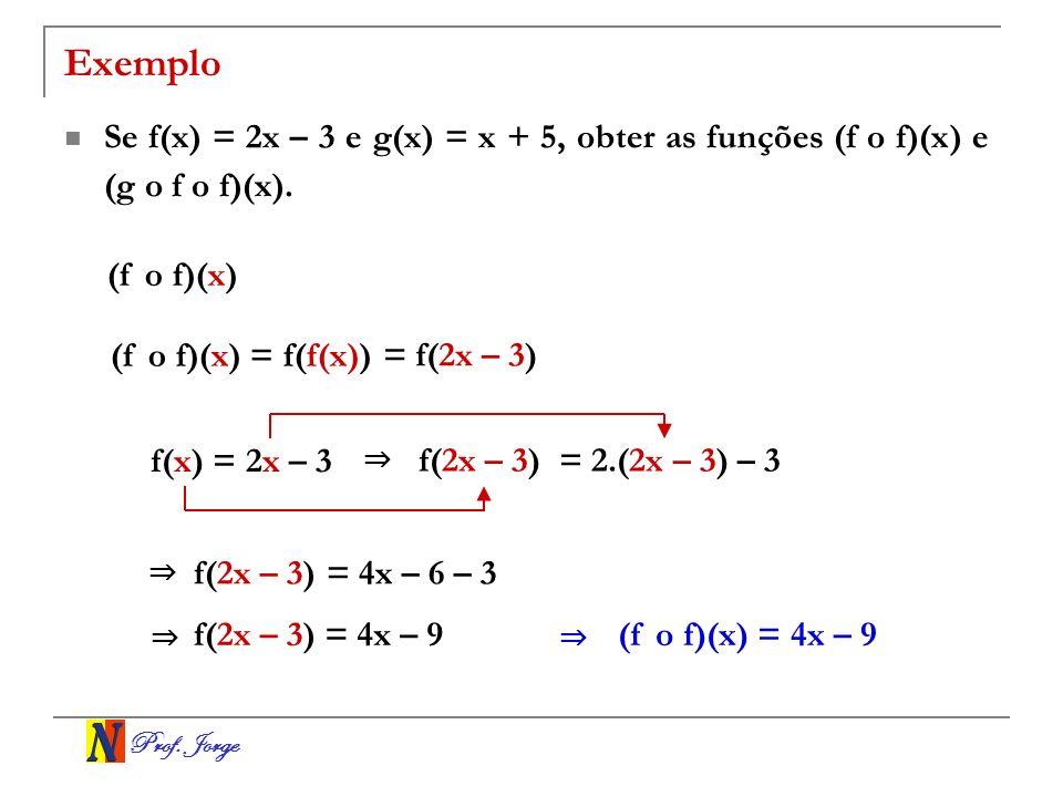 Exemplo Se f(x) = 2x – 3 e g(x) = x + 5, obter as funções (f o f)(x) e (g o f o f)(x). (f o f)(x) (f o f)(x) = f(f(x))