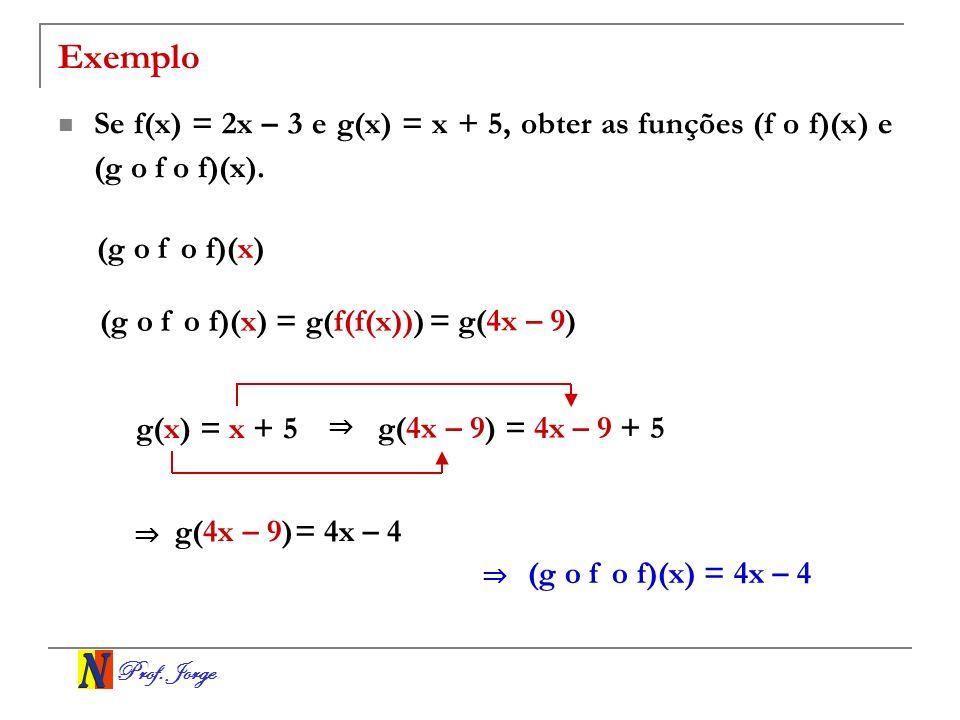 Exemplo Se f(x) = 2x – 3 e g(x) = x + 5, obter as funções (f o f)(x) e (g o f o f)(x). (g o f o f)(x)