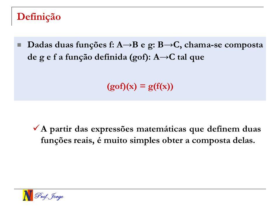DefiniçãoDadas duas funções f: A→B e g: B→C, chama-se composta de g e f a função definida (gof): A→C tal que.