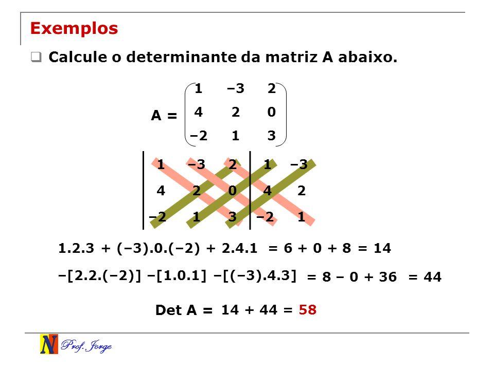 Exemplos Calcule o determinante da matriz A abaixo. A = Det A = 1 –3 2