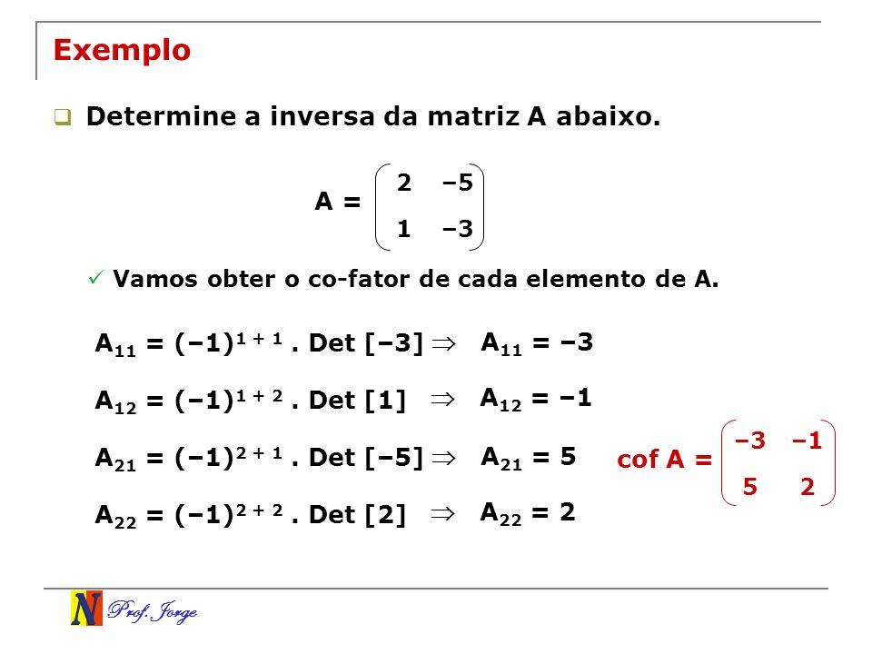 Exemplo Determine a inversa da matriz A abaixo. A =