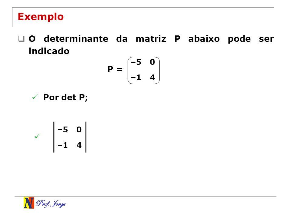 Exemplo O determinante da matriz P abaixo pode ser indicado P =