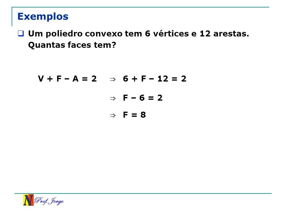 Exemplos Um poliedro convexo tem 6 vértices e 12 arestas. Quantas faces tem V + F – A = 2. ⇒ 6 + F – 12 = 2.