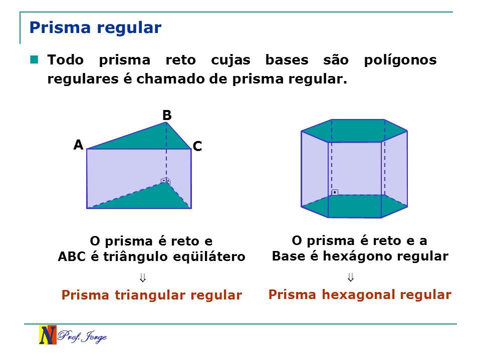 Prisma regular Todo prisma reto cujas bases são polígonos regulares é chamado de prisma regular. A.
