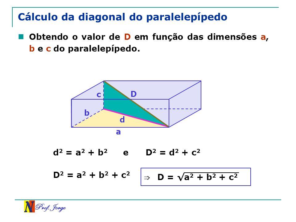 Cálculo da diagonal do paralelepípedo