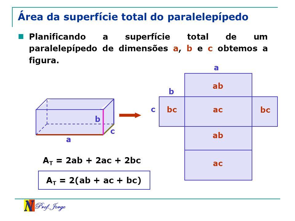 Área da superfície total do paralelepípedo