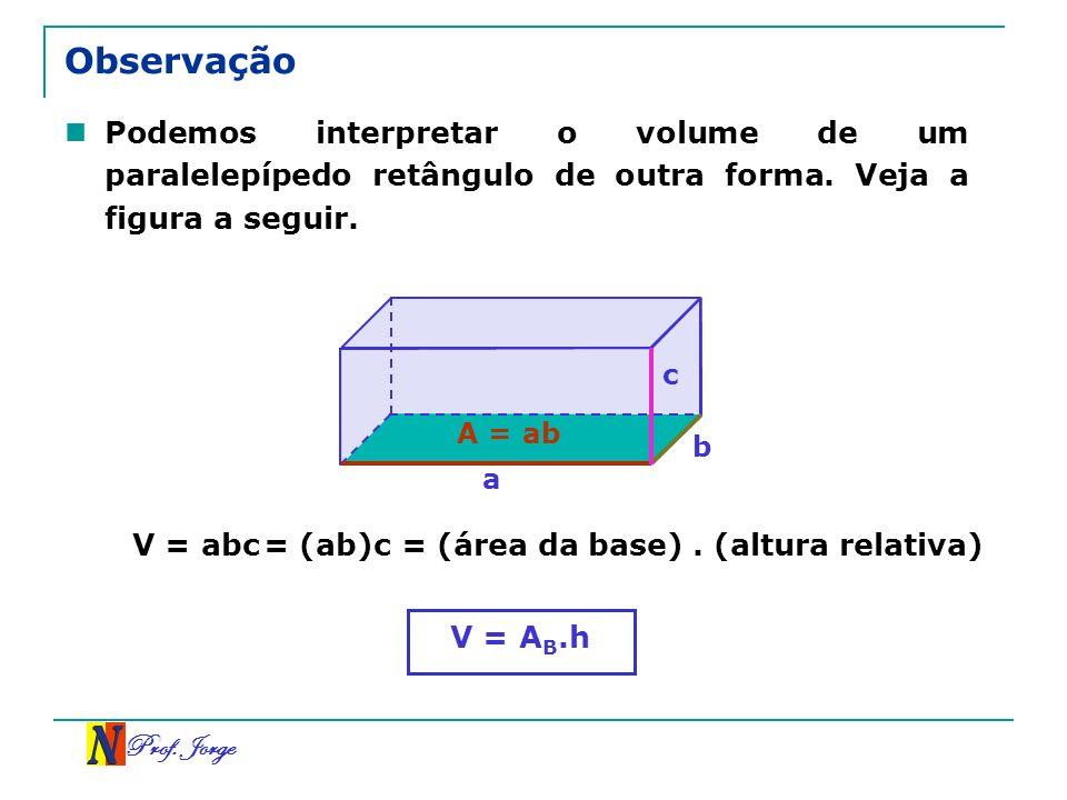 Observação Podemos interpretar o volume de um paralelepípedo retângulo de outra forma. Veja a figura a seguir.