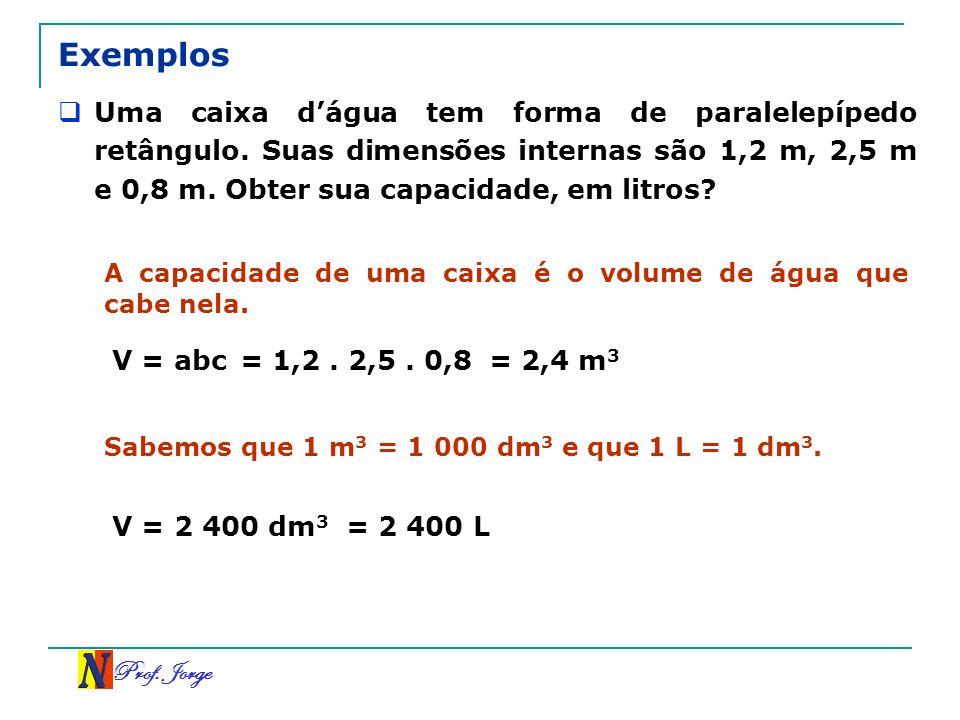 Exemplos Uma caixa d'água tem forma de paralelepípedo retângulo. Suas dimensões internas são 1,2 m, 2,5 m e 0,8 m. Obter sua capacidade, em litros
