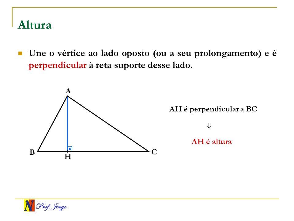 Altura Une o vértice ao lado oposto (ou a seu prolongamento) e é perpendicular à reta suporte desse lado.