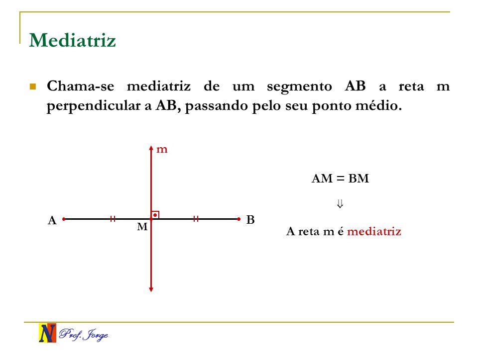 Mediatriz Chama-se mediatriz de um segmento AB a reta m perpendicular a AB, passando pelo seu ponto médio.