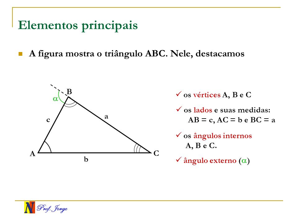 Elementos principais A figura mostra o triângulo ABC. Nele, destacamos