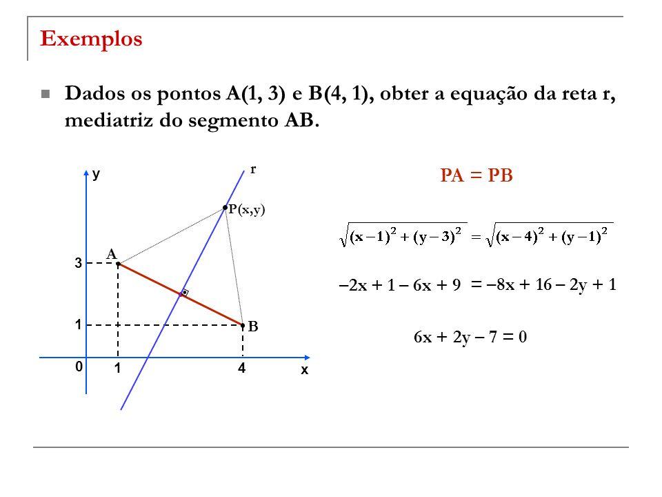 Exemplos Dados os pontos A(1, 3) e B(4, 1), obter a equação da reta r, mediatriz do segmento AB. r.