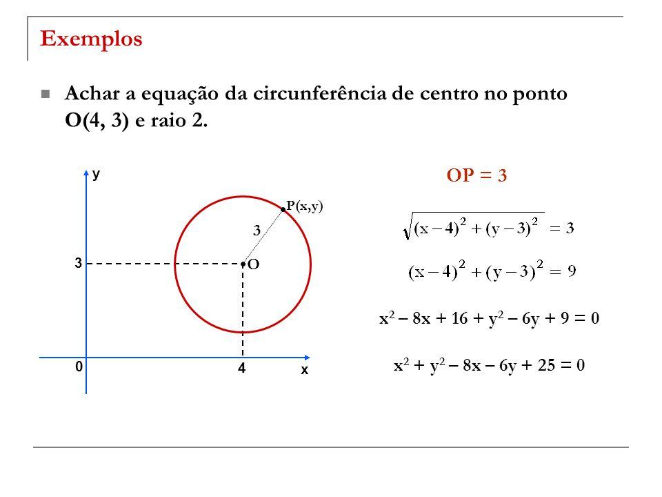 ExemplosAchar a equação da circunferência de centro no ponto O(4, 3) e raio 2. y. OP = 3. P(x,y) 3.