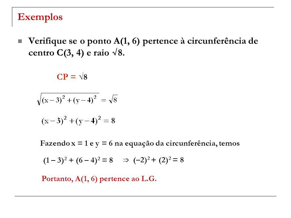 Exemplos Verifique se o ponto A(1, 6) pertence à circunferência de centro C(3, 4) e raio √8. CP = √8.