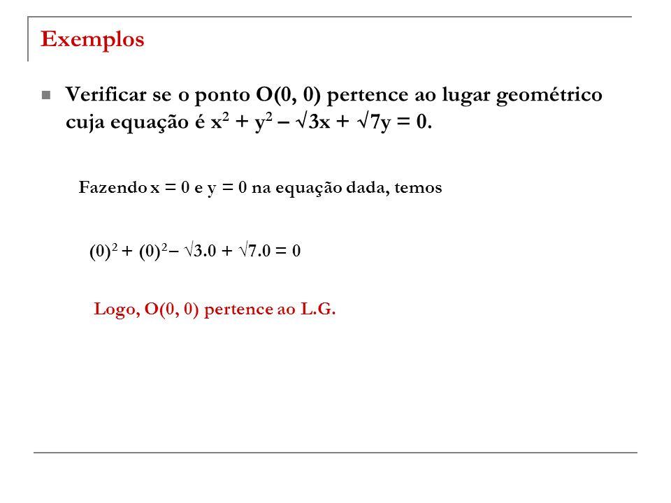 Exemplos Verificar se o ponto O(0, 0) pertence ao lugar geométrico cuja equação é x2 + y2 – √3x + √7y = 0.