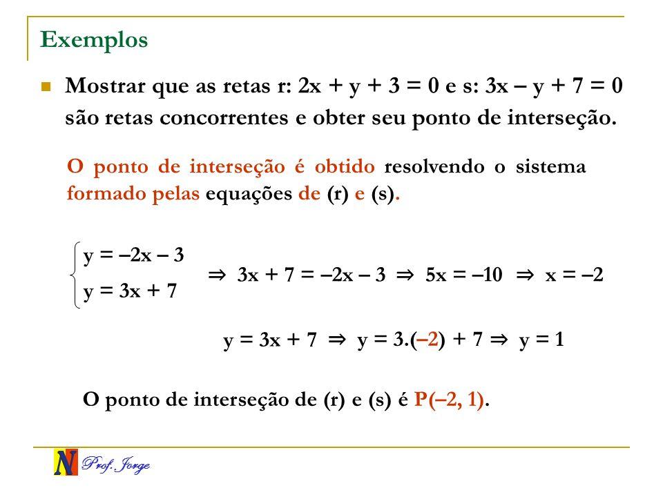 ExemplosMostrar que as retas r: 2x + y + 3 = 0 e s: 3x – y + 7 = 0 são retas concorrentes e obter seu ponto de interseção.