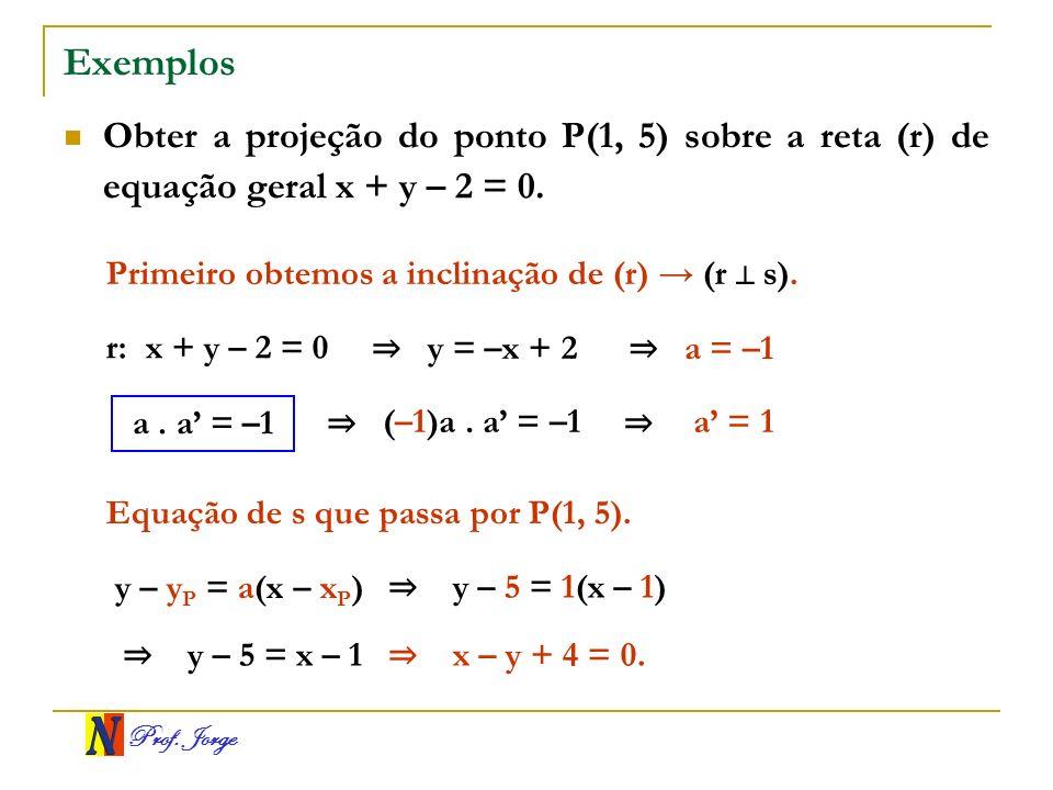 ExemplosObter a projeção do ponto P(1, 5) sobre a reta (r) de equação geral x + y – 2 = 0. Primeiro obtemos a inclinação de (r) → (r ⊥ s).