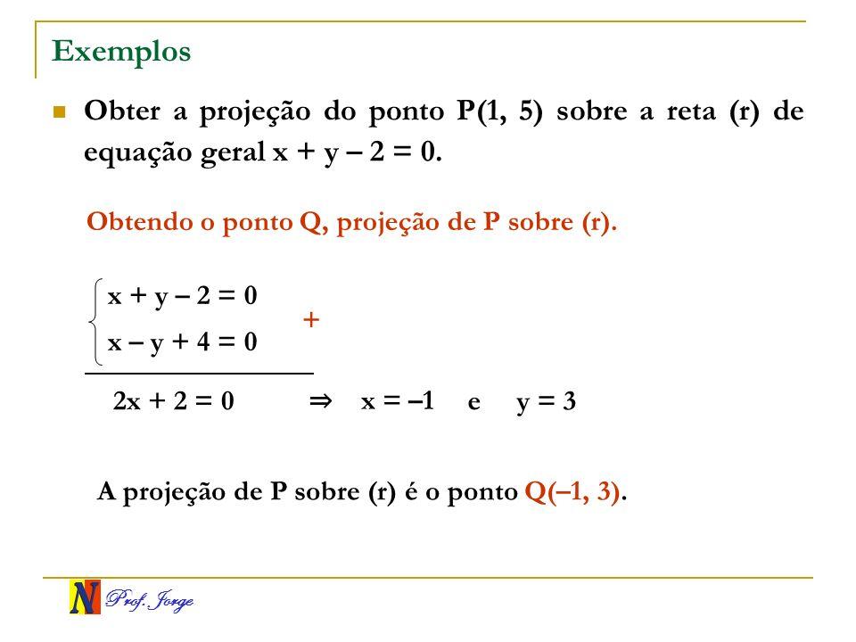 Exemplos Obter a projeção do ponto P(1, 5) sobre a reta (r) de equação geral x + y – 2 = 0. Obtendo o ponto Q, projeção de P sobre (r).