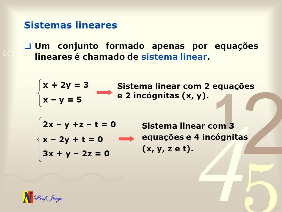 Sistemas linearesUm conjunto formado apenas por equações lineares é chamado de sistema linear. x + 2y = 3.