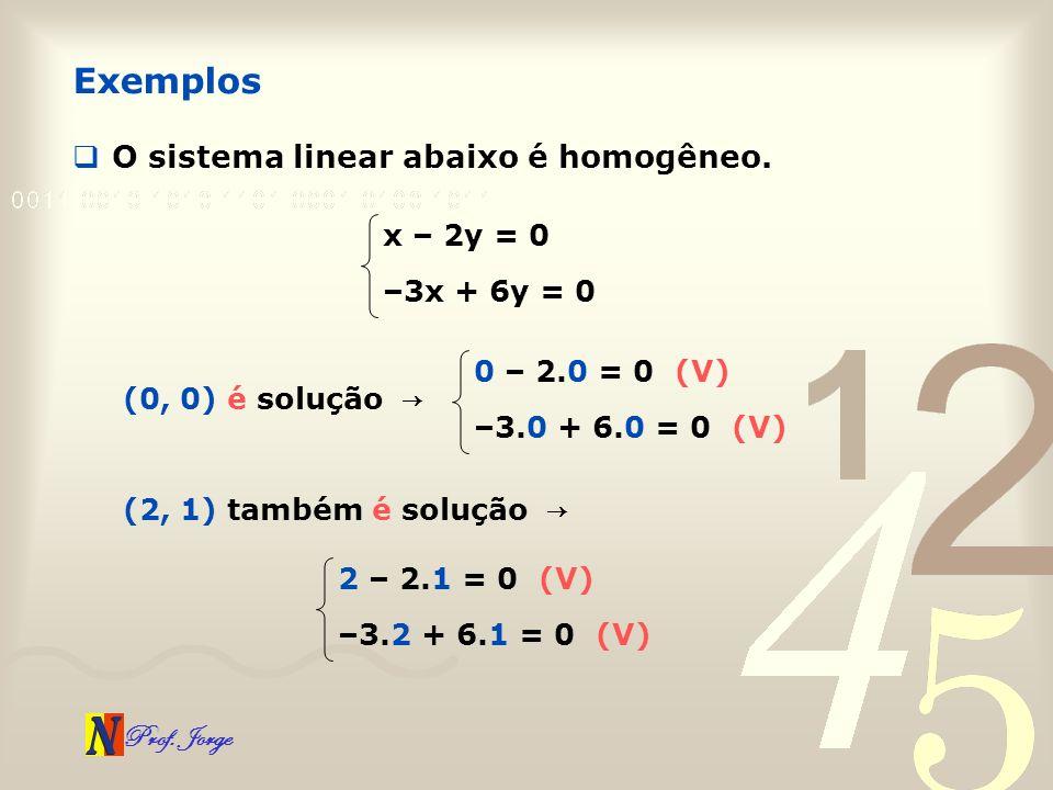 Exemplos O sistema linear abaixo é homogêneo. x – 2y = 0 –3x + 6y = 0