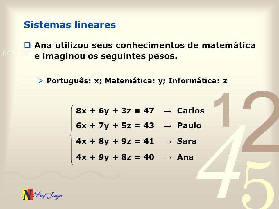 Sistemas lineares Ana utilizou seus conhecimentos de matemática e imaginou os seguintes pesos. Português: x; Matemática: y; Informática: z.