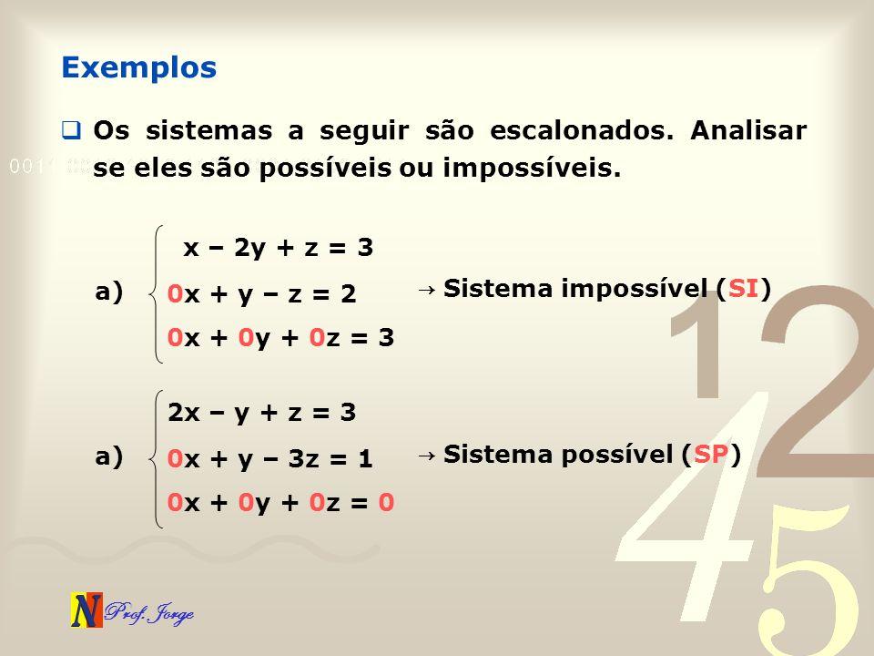 Exemplos Os sistemas a seguir são escalonados. Analisar se eles são possíveis ou impossíveis. x – 2y + z = 3.
