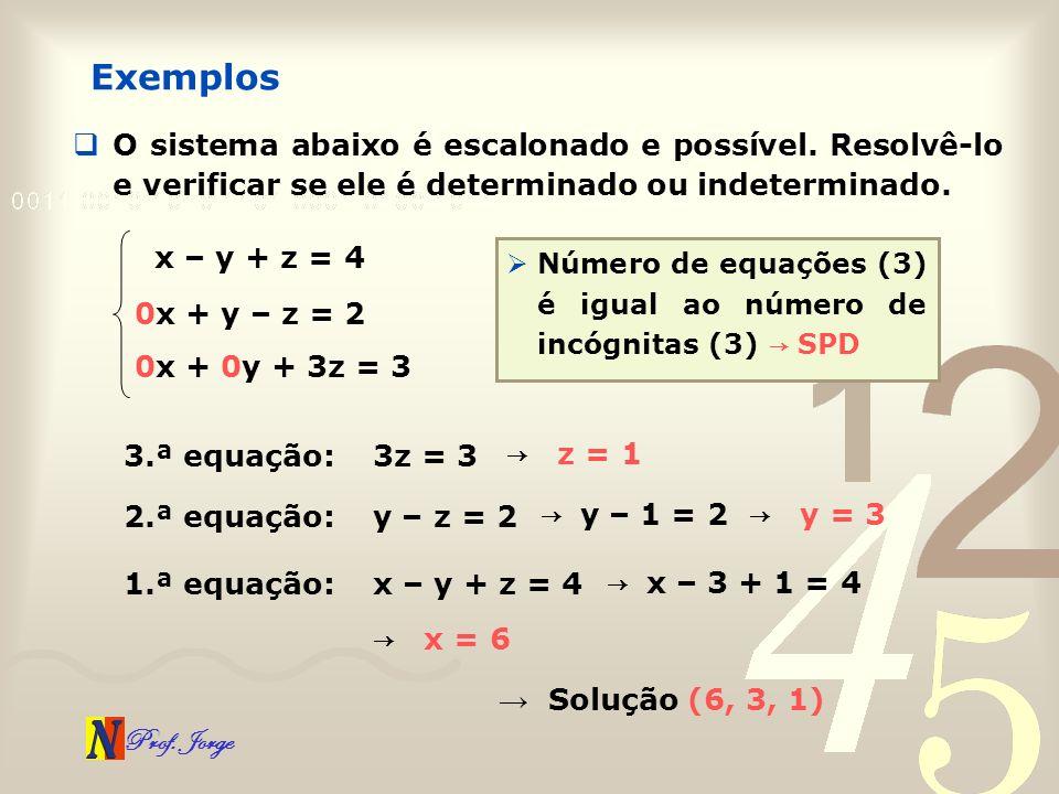 Exemplos O sistema abaixo é escalonado e possível. Resolvê-lo e verificar se ele é determinado ou indeterminado.