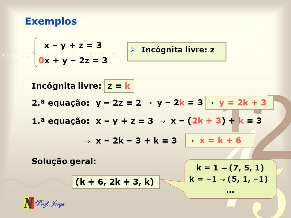 Exemplos x – y + z = 3 0x + y – 2z = 3 Incógnita livre: z = k