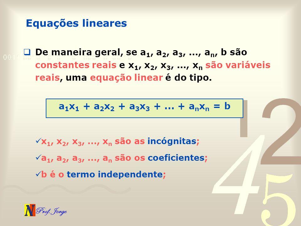 Equações lineares a1x1 + a2x2 + a3x3 + ... + anxn = b
