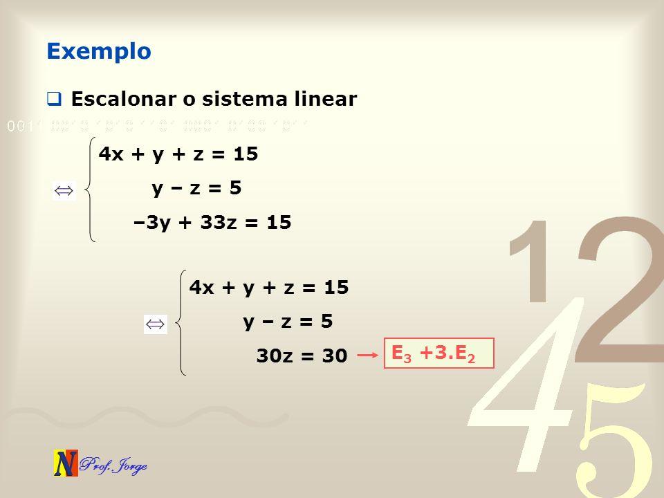 Exemplo Escalonar o sistema linear 4x + y + z = 15 y – z = 5