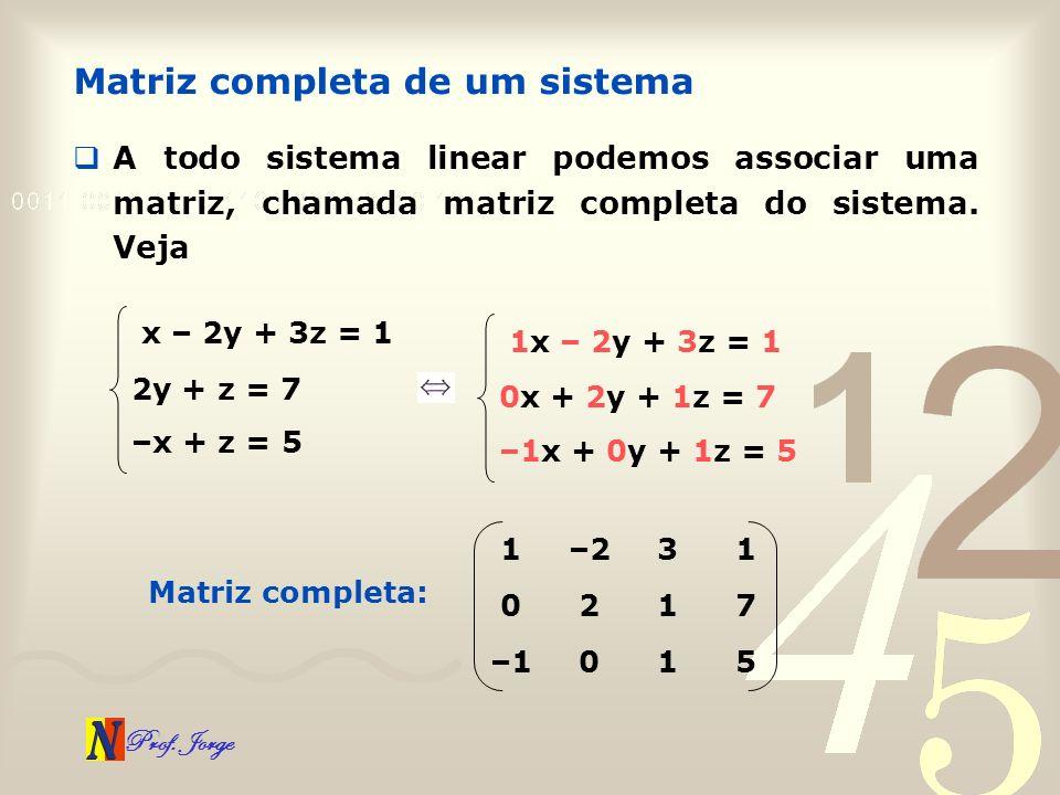 Matriz completa de um sistema