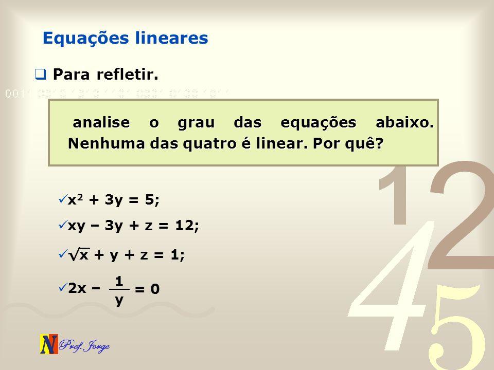 Equações lineares Para refletir.