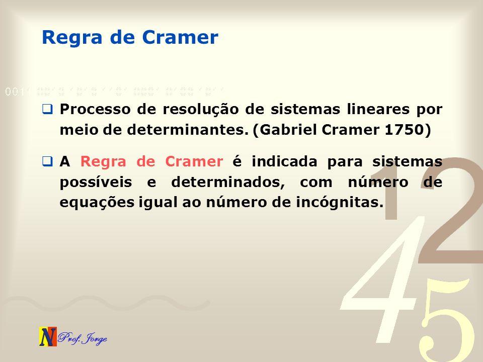 Regra de Cramer Processo de resolução de sistemas lineares por meio de determinantes. (Gabriel Cramer 1750)