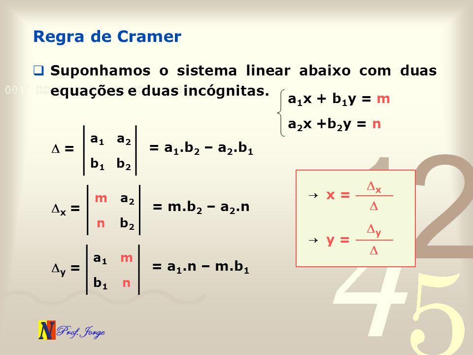 Regra de Cramer Suponhamos o sistema linear abaixo com duas equações e duas incógnitas. a1x + b1y = m.