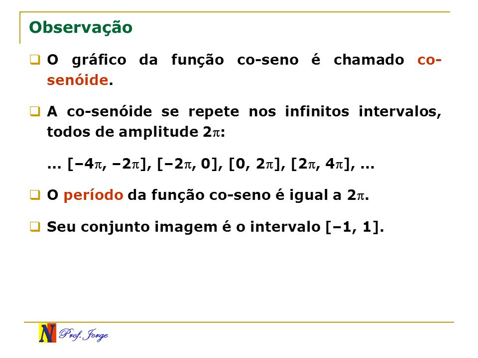 Observação O gráfico da função co-seno é chamado co-senóide.