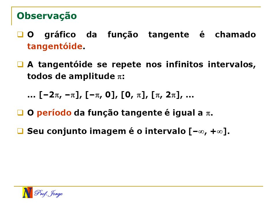 Observação O gráfico da função tangente é chamado tangentóide.