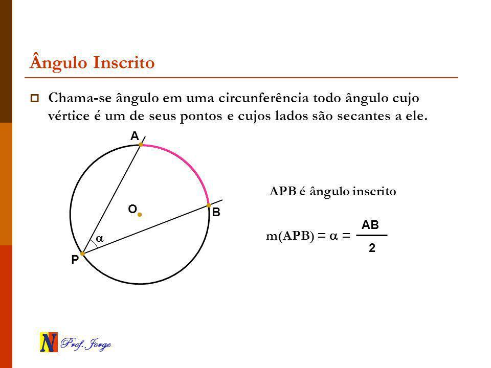 Ângulo Inscrito Chama-se ângulo em uma circunferência todo ângulo cujo vértice é um de seus pontos e cujos lados são secantes a ele.