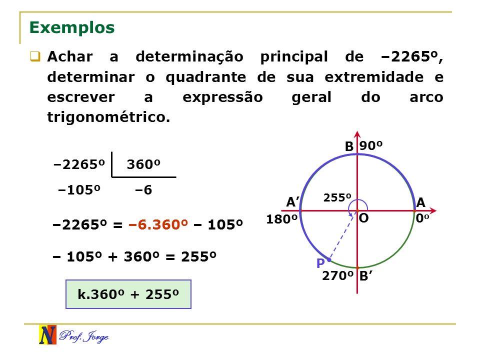 Exemplos Achar a determinação principal de –2265º, determinar o quadrante de sua extremidade e escrever a expressão geral do arco trigonométrico.