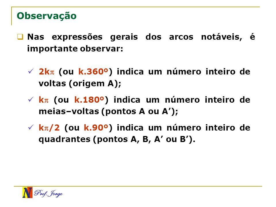 ObservaçãoNas expressões gerais dos arcos notáveis, é importante observar: 2k (ou k.360º) indica um número inteiro de voltas (origem A);