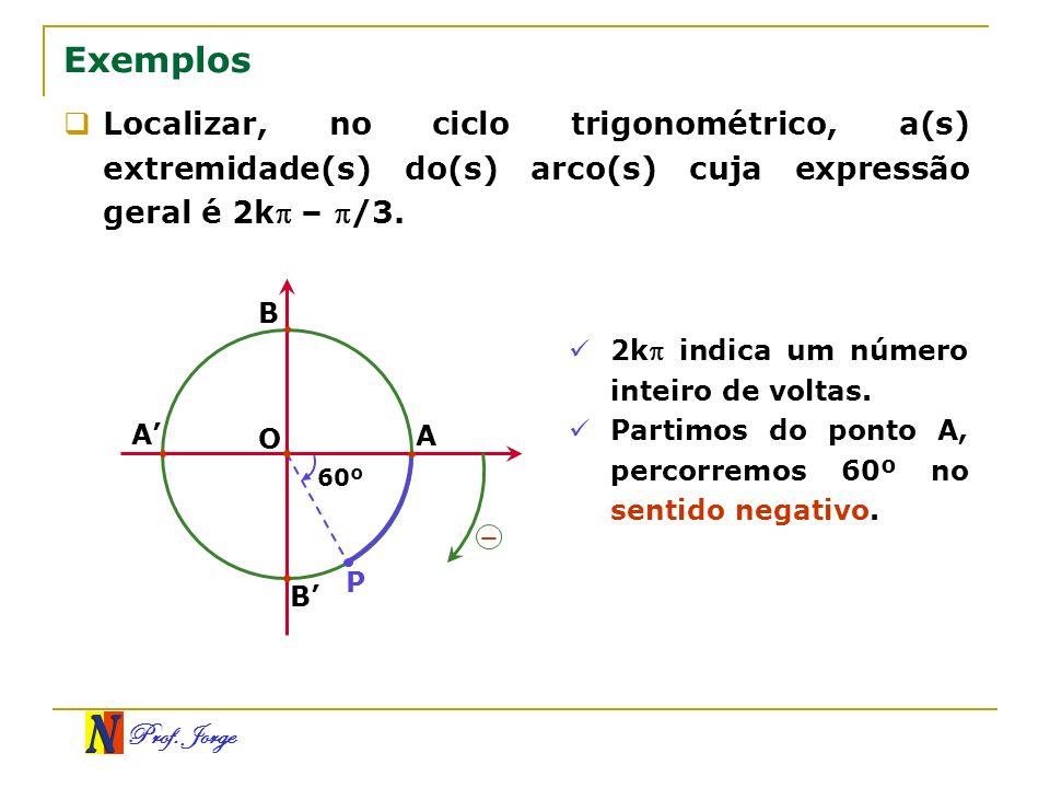 ExemplosLocalizar, no ciclo trigonométrico, a(s) extremidade(s) do(s) arco(s) cuja expressão geral é 2k – /3.