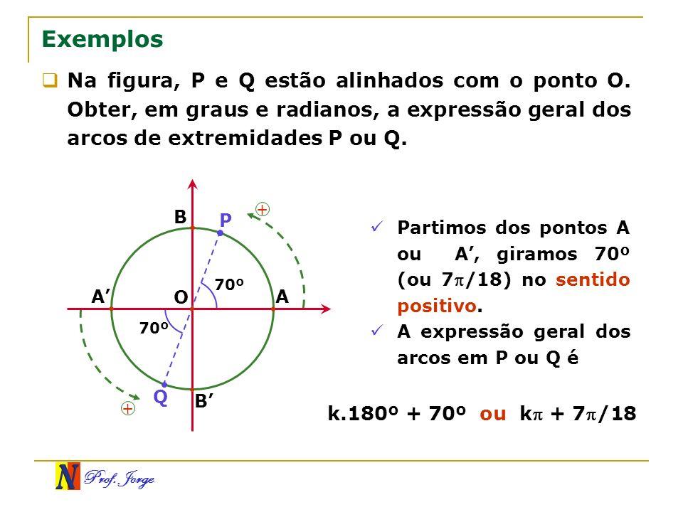 Exemplos Na figura, P e Q estão alinhados com o ponto O. Obter, em graus e radianos, a expressão geral dos arcos de extremidades P ou Q.