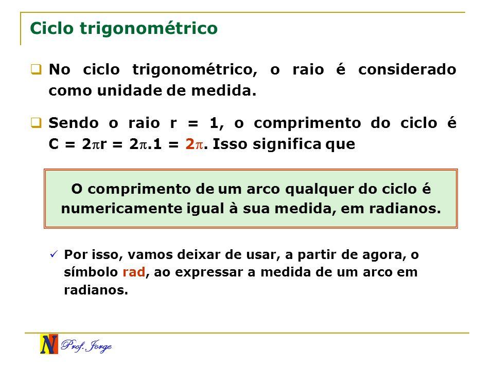 Ciclo trigonométrico No ciclo trigonométrico, o raio é considerado como unidade de medida.